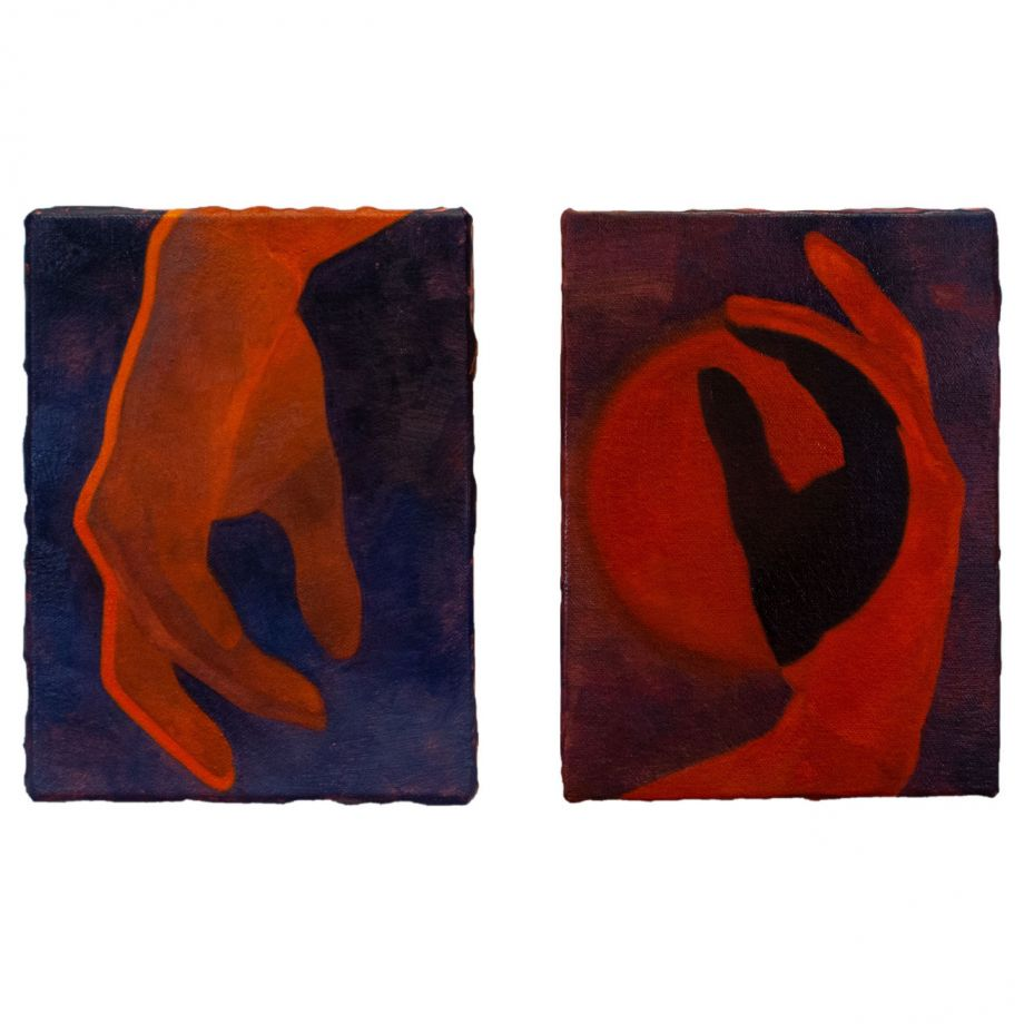 Hayley Quentin: painting of two hands